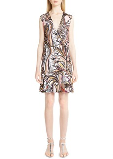 Emilio Pucci Print Jersey Surplice Dress