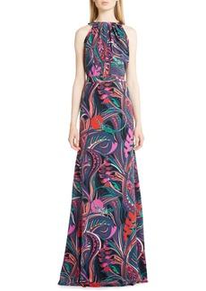 Emilio Pucci Print Silk Halter Gown