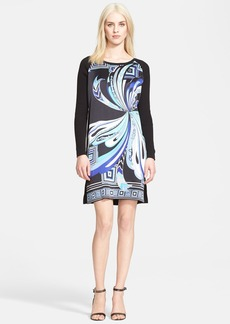 Emilio Pucci Print Stretch Silk Front Knit Dress