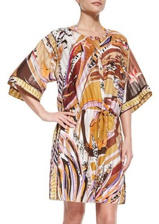 Emilio Pucci Printed Button-Front Caftan Coverup, Peonia