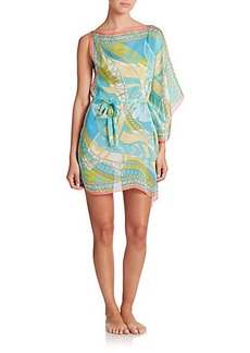 Emilio Pucci Printed One-Shoulder Silk Caftan