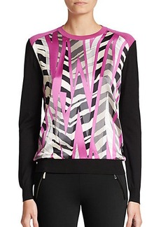 Emilio Pucci Printed Silk-Front Sweater