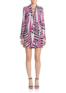 Emilio Pucci Printed Silk Lace-Up Dress
