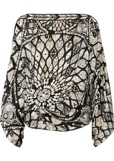 Emilio Pucci Printed silk poncho-style top