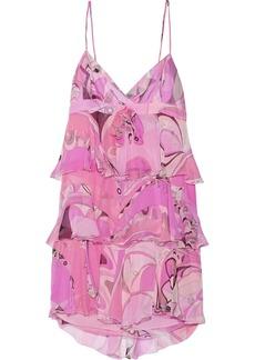 Emilio Pucci Ruffled printed silk-chiffon dress