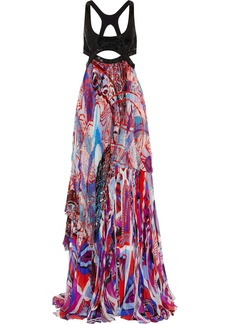 Emilio Pucci Sequin-embellished printed silk-blend chiffon gown
