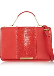 Emilio Pucci Shagreen-trimmed leather shoulder bag