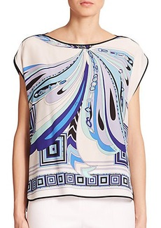 Emilio Pucci Silk Printed-Front Top