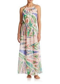Emilio Pucci Silk Tie-Belt Maxi Dress