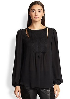 Emilio Pucci Silk/Cotton Quilted-Bib Blouse