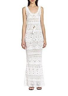 Emilio Pucci Sleeveless Crochet-Knit Maxi Dress