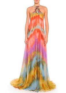 Emilio Pucci Tie-Dye Chiffon Halter Gown