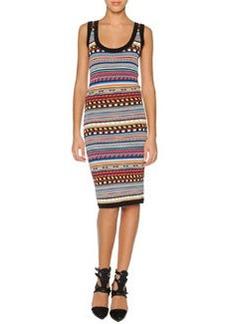 Emilio Pucci Tribal-Print Sheath Dress, Black/Multi