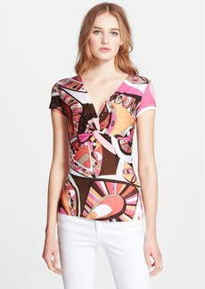 Emilio Pucci Twist Front Flower Power Print Top