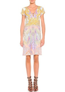 Emilio Pucci Wings and Stars Print Cap-Sleeve Dress