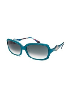 Emilio Pucci Women's Rectangle Teal Green Sunglasses
