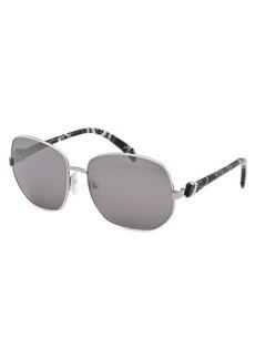 Emilio Pucci Women's Square White and Silver-Tone Sunglasses