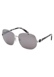 Emilio Pucci Women's Square White and Silver-Tone Sunglasses