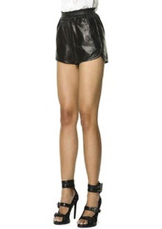 Emilio Pucci Woven Leather Shorts, Black/White
