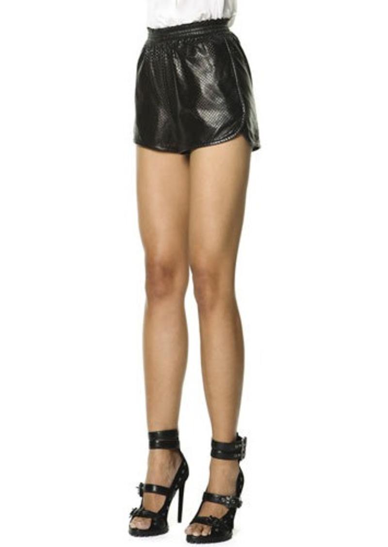 Emilio Pucci Woven Leather Shorts, Black/White