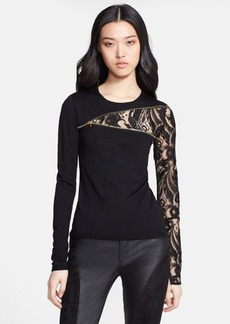 Emilio Pucci Zip & Lace Detail Wool Top