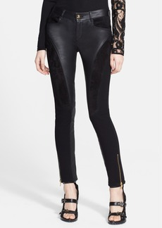 Emilio Pucci Zip Detail Leather Contrast Moto Pants
