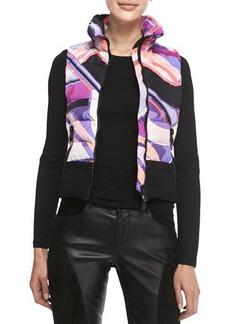 Emilio Pucci Zip-Front Printed Quilted Vest, Multicolor