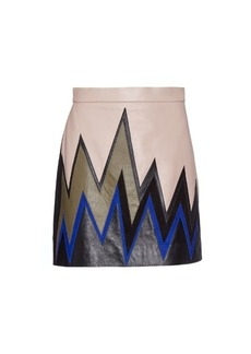 Emilio Pucci Ziz-zag colour-block leather mini skirt