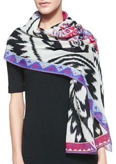Ikat-Print Wool Scarf, White/Multi   Ikat-Print Wool Scarf, White/Multi