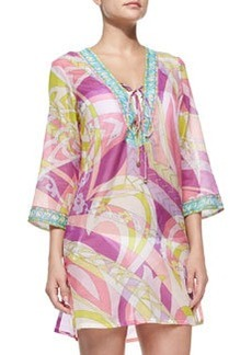 Lace-Up-Front Voile Coverup   Lace-Up-Front Voile Coverup