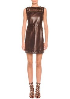 Laser-Cut Leather Sheath Dress   Laser-Cut Leather Sheath Dress