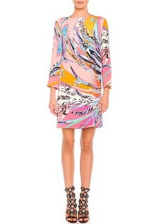Long-Sleeve Feather-Print Cady Dress   Long-Sleeve Feather-Print Cady Dress