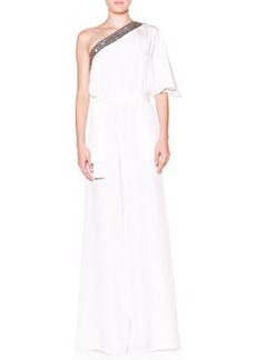 One-Shoulder Jumpsuit with Beaded Trim   One-Shoulder Jumpsuit with Beaded Trim