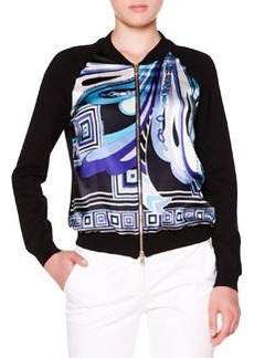 Printed-Front Bomber Jacket W/ Solid Back   Printed-Front Bomber Jacket W/ Solid Back