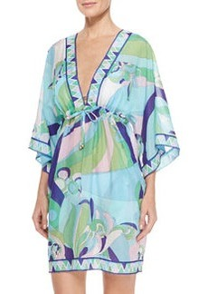 Printed Sheer Chiffon Short Coverup   Printed Sheer Chiffon Short Coverup