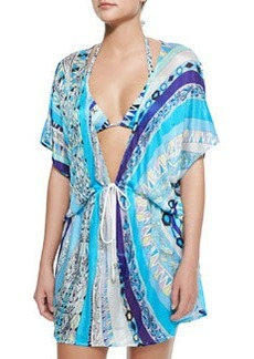 Printed Short Drawstring Coverup   Printed Short Drawstring Coverup