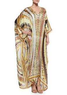 Printed V-Neck Long Caftan Coverup, Yellow Sun   Printed V-Neck Long Caftan Coverup, Yellow Sun