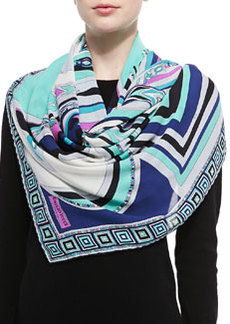 Scialle Mixed-Print Silk Scarf   Scialle Mixed-Print Silk Scarf