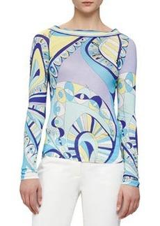 Scoop-Back Geometric-Print Shirt   Scoop-Back Geometric-Print Shirt