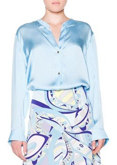 Silk Banded-Collar Blouse   Silk Banded-Collar Blouse