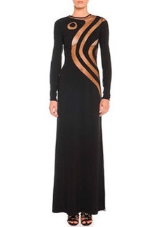 Silk Cady Gown with Swirly Sheer Insets   Silk Cady Gown with Swirly Sheer Insets