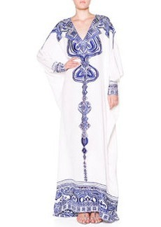 Silk Eyelet-Embroidered Caftan   Silk Eyelet-Embroidered Caftan
