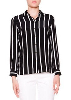 Silk Striped Button-Front Blouse   Silk Striped Button-Front Blouse