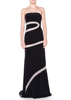 Strapless Crystal Chain A-Line Gown   Strapless Crystal Chain A-Line Gown