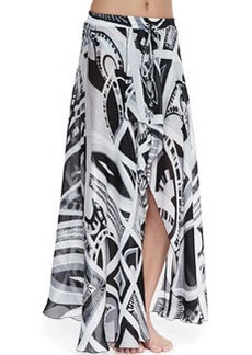 Taitu-Print Silk Coverup Skirt   Taitu-Print Silk Coverup Skirt