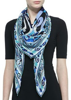 Tapestry-Pattern Scialle Scarf, Blue   Tapestry-Pattern Scialle Scarf, Blue