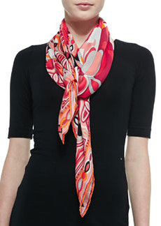 Tapestry-Pattern Scialle Scarf, Coral   Tapestry-Pattern Scialle Scarf, Coral
