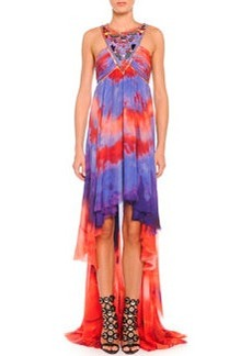 Tie-Dye Chiffon High-Low Halter Gown   Tie-Dye Chiffon High-Low Halter Gown