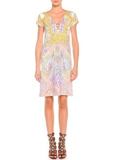 Wings and Stars Print Cap-Sleeve Dress   Wings and Stars Print Cap-Sleeve Dress