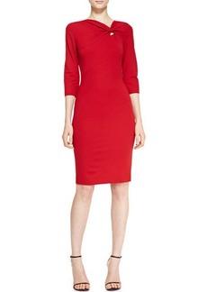 Escada 3/4-Sleeve Off-Center Twist Keyhole Dress, Garnet Red